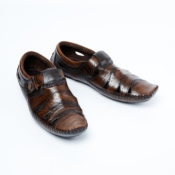 BUCKAROO Genuine Leather Textured Sandals with Cutouts