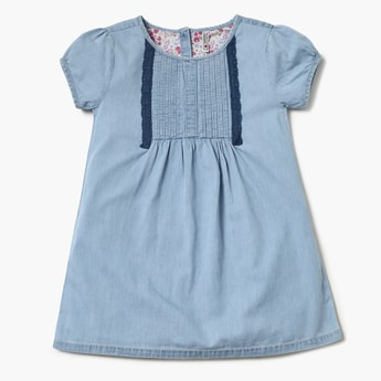 LEE COOPER JUNIORS Pin-Tucked Lace Trimmed Dress