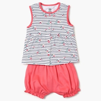 FS MINI KLUB Printed Top, Bloomers And Jabla Set - 3 Pcs.