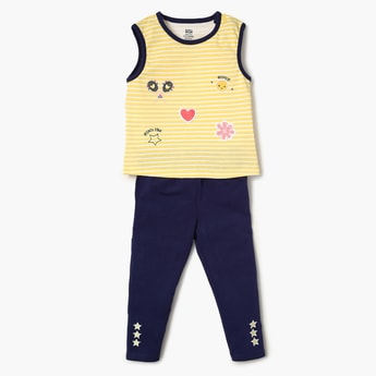 FS MINI KLUB Printed Sleepsuit, T-Shirt And Pyjamas Set- 3 Pcs.