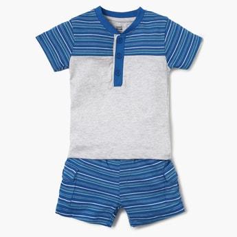 FS MINI KLUB Striped Henley Collar T-Shirt And Shorts Set