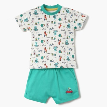 FS MINI KLUB Printed Sleepsuit With Printed T-Shirt And Shorts