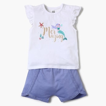 FS MINI KLUB Printed T-shirt, Sleepsuit and Shorts Set