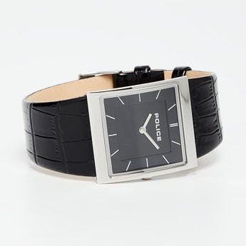 POLICE Black Leather Men's Wristwatch-PL15395BS02