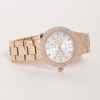 GUESS Women Crystal Encrusted Metal Strap Watch - W1097L3