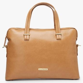 CAPRESE Solid Logo-Embossed Laptop Bag