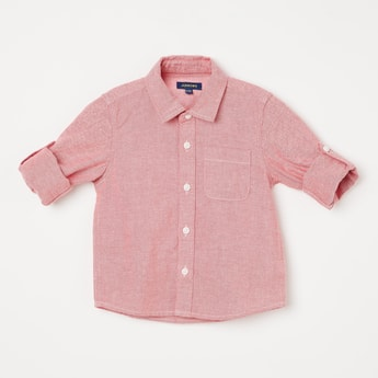 JUNIORS Textured Full Sleeves Shirt
