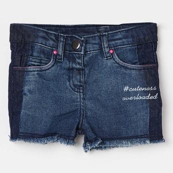 JUNIORS Faded Denim Shorts