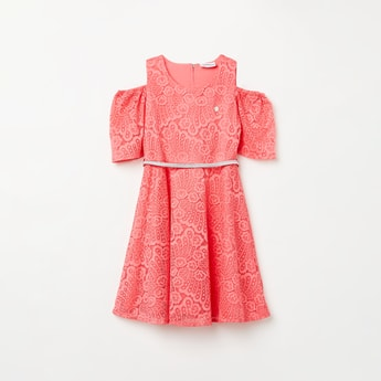 PEPPERMINT Lace Overlay Cold-Shoulder Dress