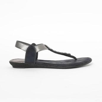 RAW HIDE Embellished T-strap Flat Sandals
