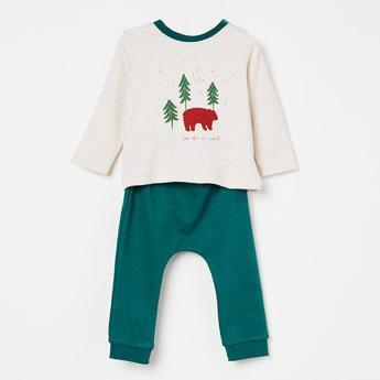 FS MINI KLUB Bear Print Lounge T-shirt with Pyjamas - Set of 2 Pcs.