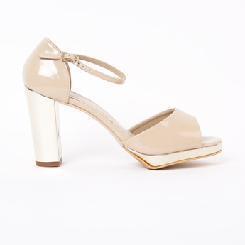 INC.5 Peep-Toe Block Heels with Ankle Straps