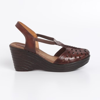 CATWALK Slip On Cut Out Textured Wedges