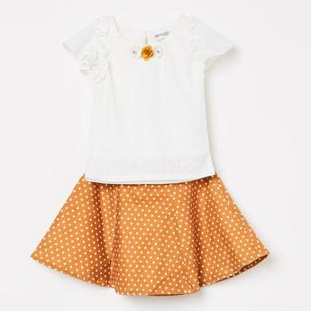 PEPERMINT Ruffled Sleeve Top and Polka Printed Skirt Set