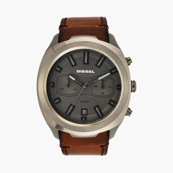 DIESEL Men Chronograph Watch with Leather Strap -  DZ4491