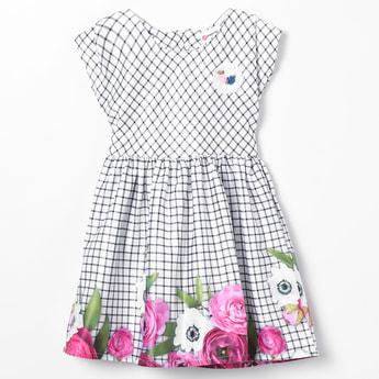 PEPPERMINT Checked Floral Hem Dress
