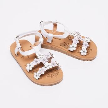 FAME FOREVER Floral Accent Slingback Flat Sandals