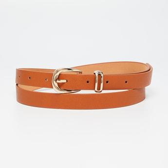 GINGER Solid Gold Tone Buckled Ladies Belt