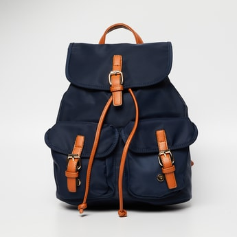 GINGER Solid Backpack with Multiple Pockets