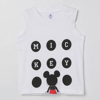 JUNIORS Mickey Mouse Print Sleeveless T-shirt