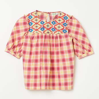 BOSSINI Checked Top with Embroidery