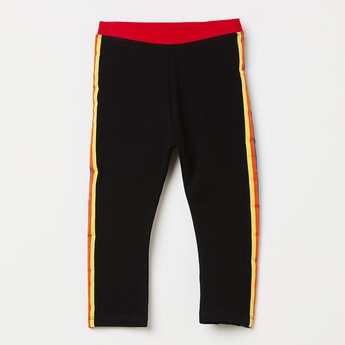 JUNIORS Solid Track Pants with Tape Detailing