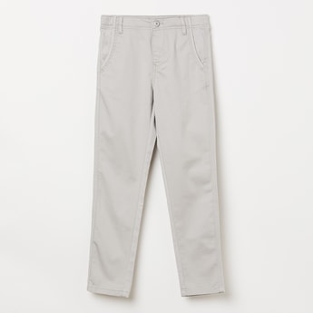 BOSSINI Solid Flat-Front Casual Trousers