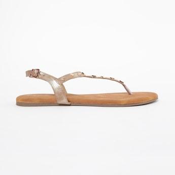 INC.5 Embellished T-strap Flat Sandals