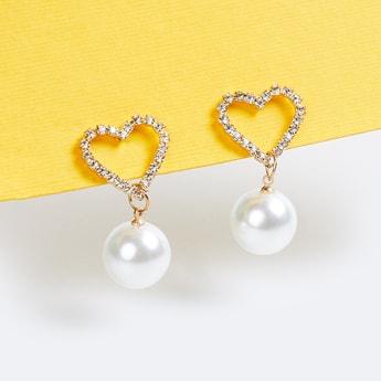 TONIQ Embellished Heart-Shaped Beaded Drop-Earrings