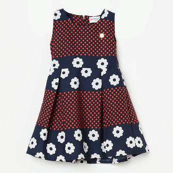 PEPPERMINT Polka-Dot Print Sleeveless Fit & Flare Dress