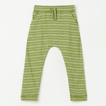 JUNIORS Striped Track Pants with Slant Pockets