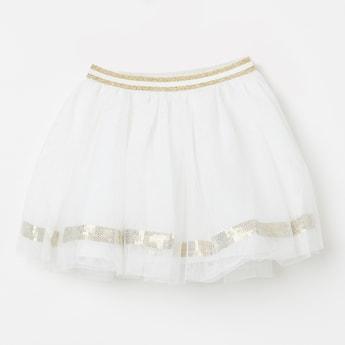 JUNIORS Sequinned Tulle Layered Skirt