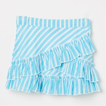 JUNIORS Striped Ruffle Detailed Skirt