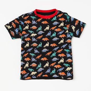 JUNIORS Dinosaur Print Short Sleeves T-shirt