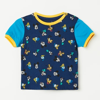 JUNIORS Mickey Mouse Print Colourblock T-shirt