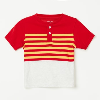 JUNIORS Striped Colourblock Henley T-shirt