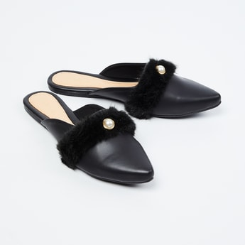 CATWALK Pointed-Toe Mules with Faux-Fur Trim