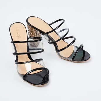 CATWALK Transparent Strap Glitterd Block Heels