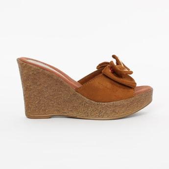 CATWALK Peep-Toe Wedges with Beaded Bow