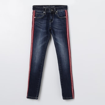 PEPE JEANS Stonewashed Jeans with Contrast Taping
