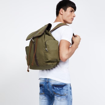 FAME FOREVER Textured Backpack with Flap Closure