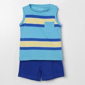 JUNIORS Striped T-shirt & Shorts Set