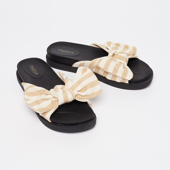 TRUFFLE COLLECTION Striped Tie-Up Bow Mules