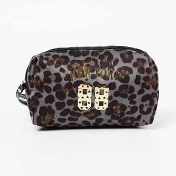 GINGER Animal Print Pouch with Metal Accents
