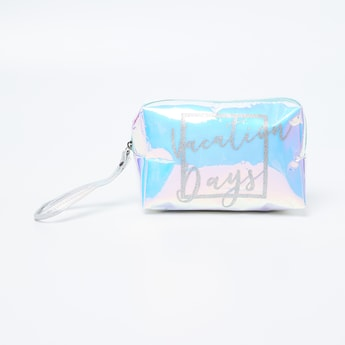 GINGER Printed Chrome Detailed Cosmetic Pouch