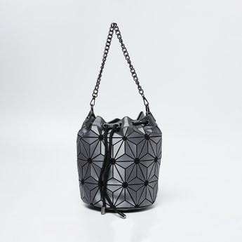 GINGER Geometric Design Drawstring-Closure Shoulder Bag
