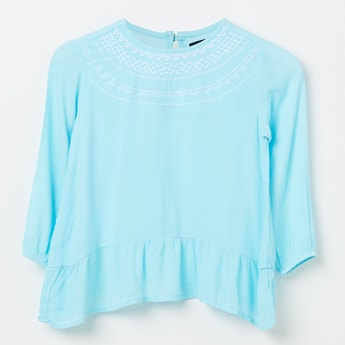 ALLEN SOLLY Embroidered Full Sleeves Top