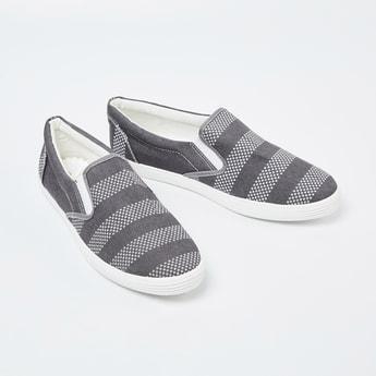 FORCA Patterned Weave Striped Plimsolls