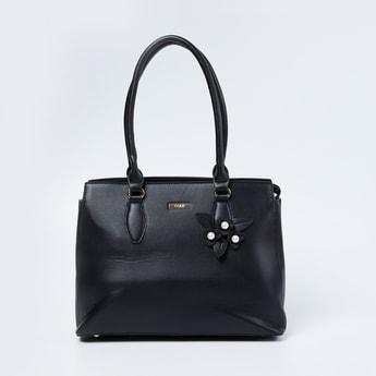 CODE Solid Handbag with Floral Applique