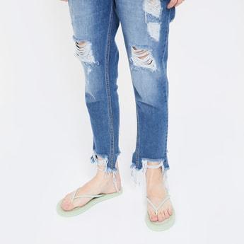 GINGER Textured Flip Flop Sandals